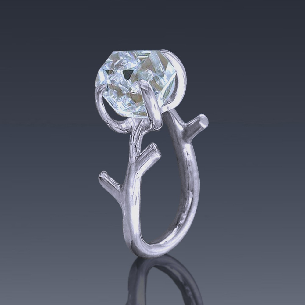 Herkimer Diamond Ring Recycled Sterling Silver Twig Design-1863-36