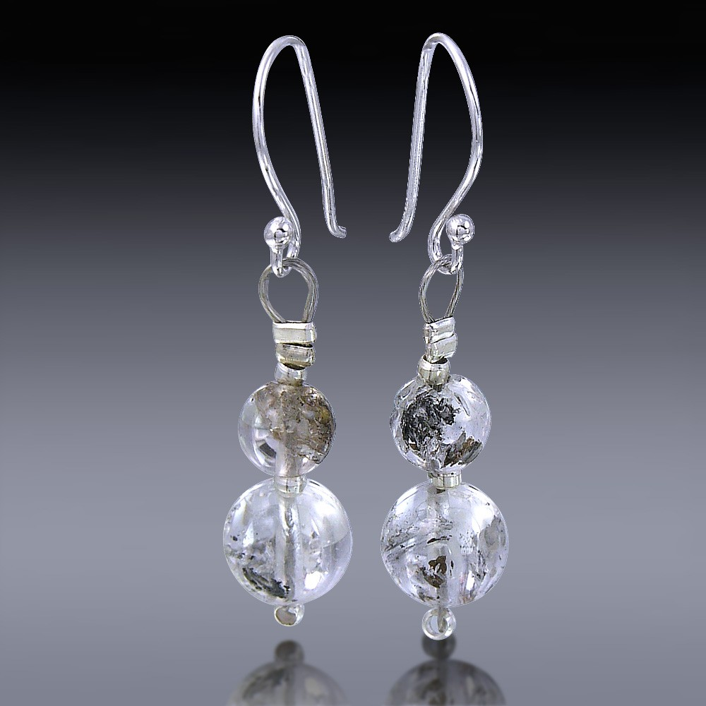 Herkimer Diamond Beads Earrings 925 Sterling Silver-HDE_Beads_001-30