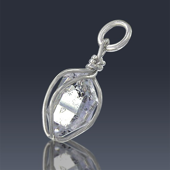 2.95ct Herkimer Diamond Quartz Crystal 925 Sterling Silver Wrap Around Pendant-HDP138-30