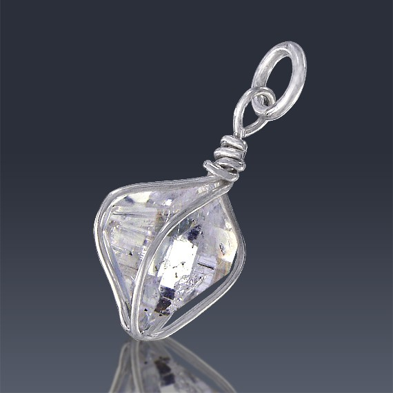 4.80ct Herkimer Diamond Quartz Crystal 925 Sterling Silver Wrap Around Pendant-HDP144-30