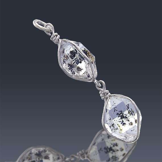12.2ct Herkimer Diamond Quartz Crystal 925 Sterling Silver Wrap Around Pendant-HDP160-30