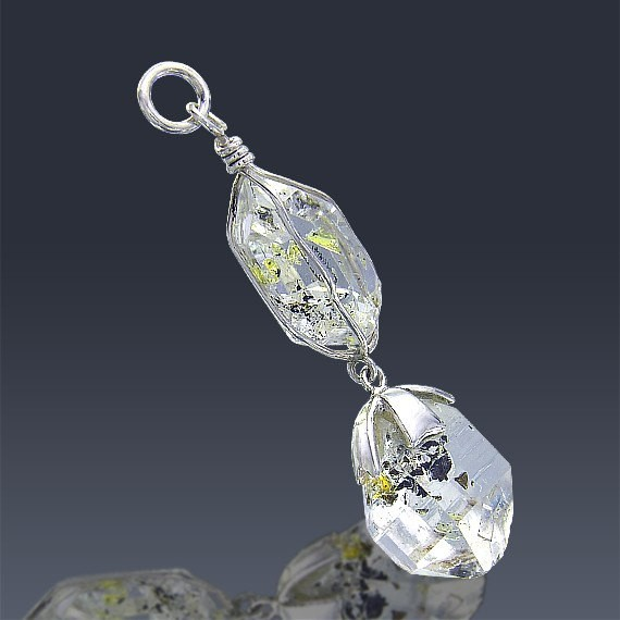 17.5ct Herkimer Diamond Crystal 925 Sterling Silver Pendant Wire Wrapped-HDP161-33