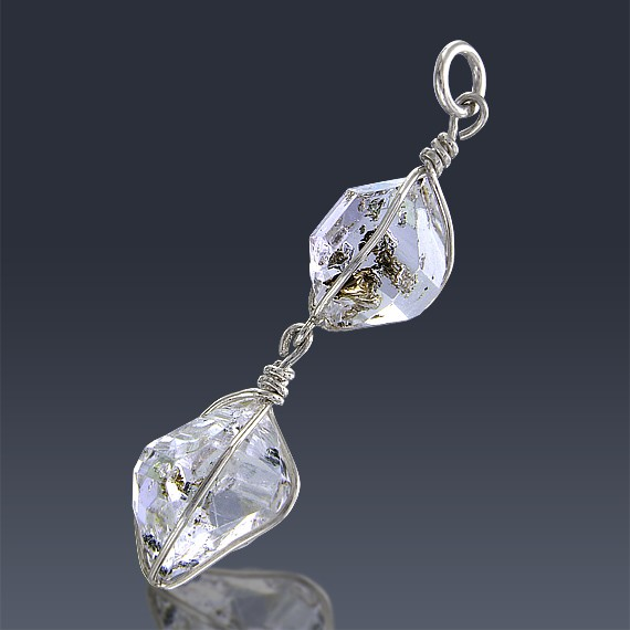 14.9ct Herkimer Diamond Quartz Crystal 925 Sterling Silver Wrap Around Pendant-HDP163-30
