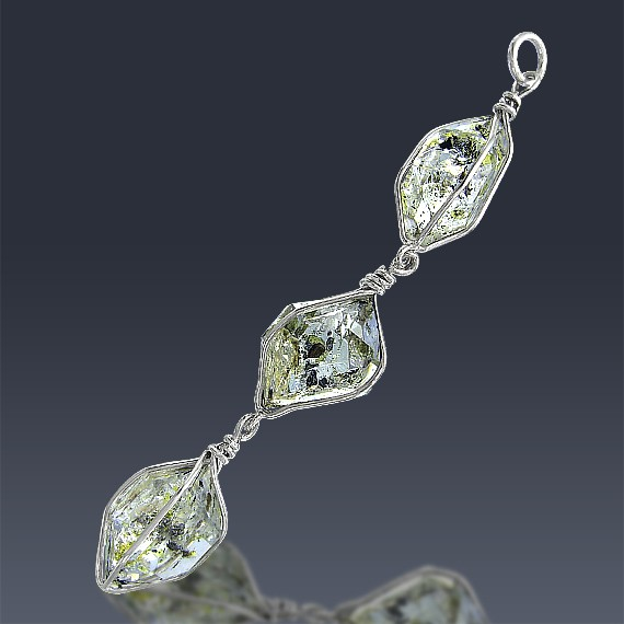 27ct Herkimer Diamond Quartz Crystal 925 Sterling Silver Wrap Around Pendant-HDP169-30