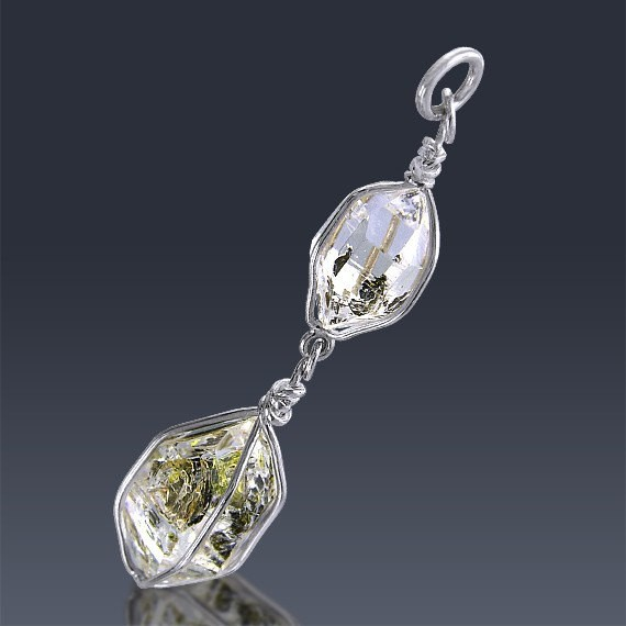 14.2ct Herkimer Diamond Crystal 925 Sterling Silver Pendant Wire Wrapped-HDP172-36