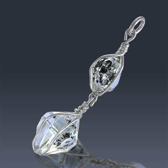 13.29ct Herkimer Diamond Quartz Crystal 925 Sterling Silver Wrap Around Pendant-HDP177-30