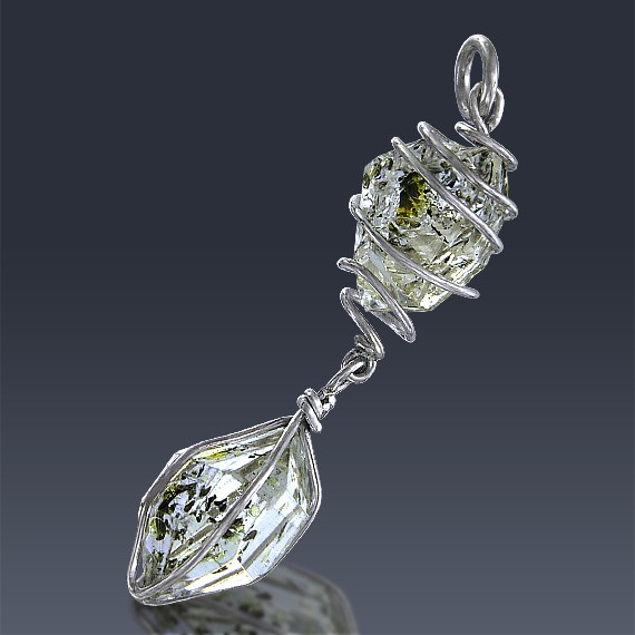 15ct Herkimer Diamond Quartz Crystal 925 Sterling Silver Wrap Around Pendant-HDP178-30