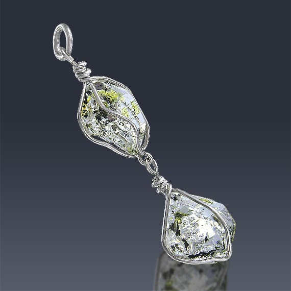 12.8ct Herkimer Diamond Crystal 925 Sterling Silver Pendant Wire Wrapped-HDP179-35