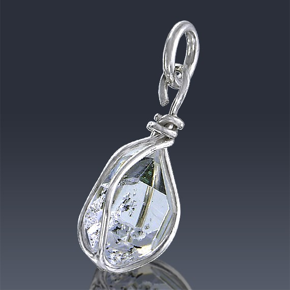 3.02ct Herkimer Diamond Quartz Crystal 925 Sterling Silver Wrap Around Pendant-HDP201-30