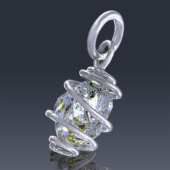 1.78ct Herkimer Diamond Quartz Crystal 925 Sterling Silver Wrap Around Pendant-HDP208-30
