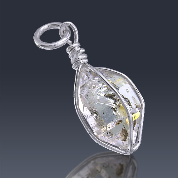 6.4ct Herkimer Diamond Quartz Crystal 925 Sterling Silver Wrap Around Pendant-HDP216-36