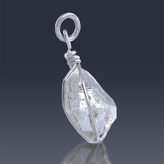 6.9ct Herkimer Diamond Quartz Crystal 925 Sterling Silver Wrap Around Pendant-HDP219-38