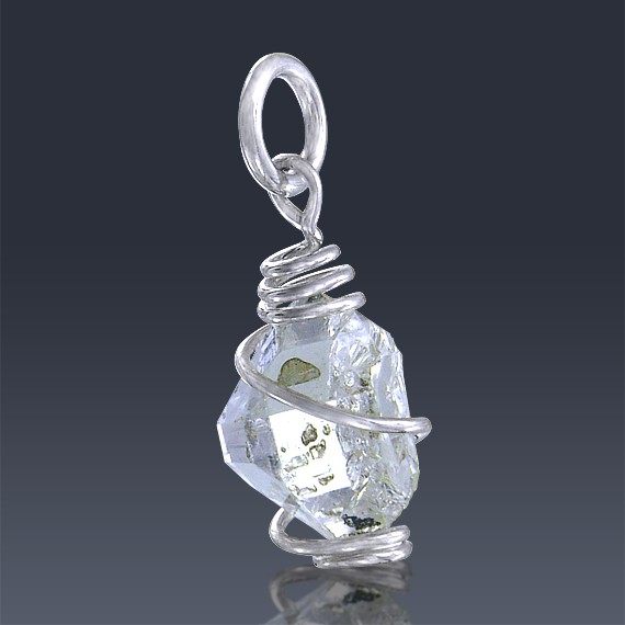 2.87ct Herkimer Diamond Quartz Crystal 925 Sterling Silver Wrap Around Pendant-HDP233-321