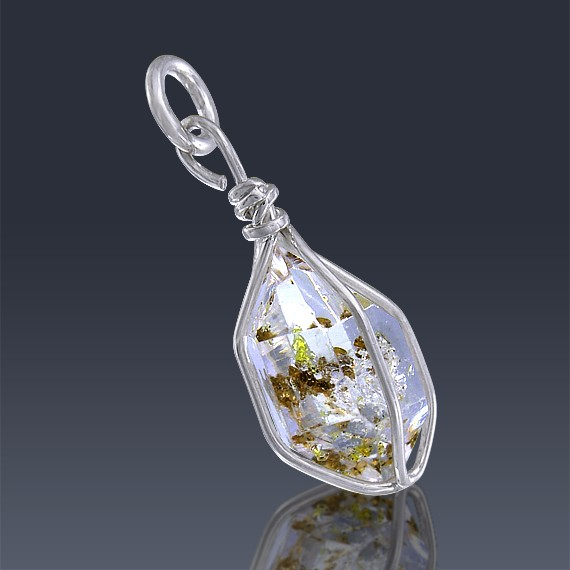 4.60ct Herkimer Diamond Quartz Crystal 925 Sterling Silver Wrap Around Pendant-HDP243-32