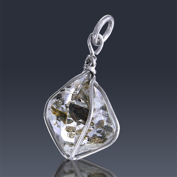 6.11ct Herkimer Diamond Quartz Crystal 925 Sterling Silver Wrap Around Pendant-HDP300-311