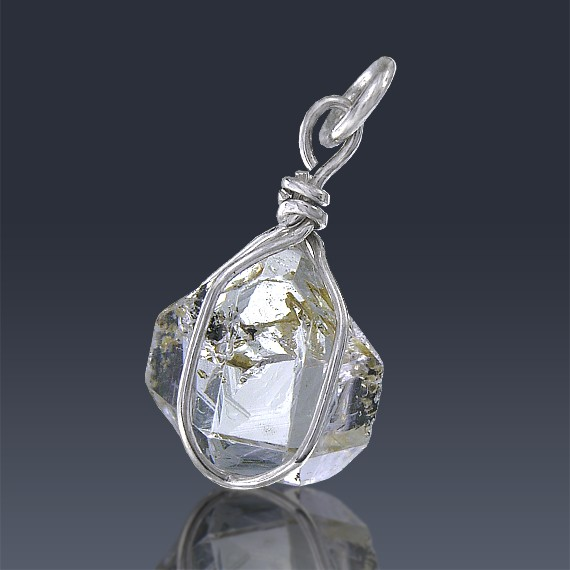 5.43ct Herkimer Diamond Quartz Crystal 925 Sterling Silver Wrap Around Pendant-HDP305-314