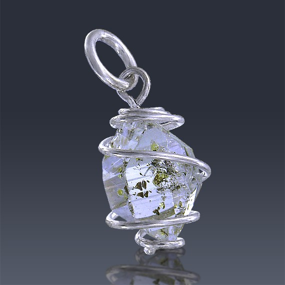 3.88ct Herkimer Diamond Quartz Crystal 925 Sterling Silver Wrap Around Pendant-HDP312-315