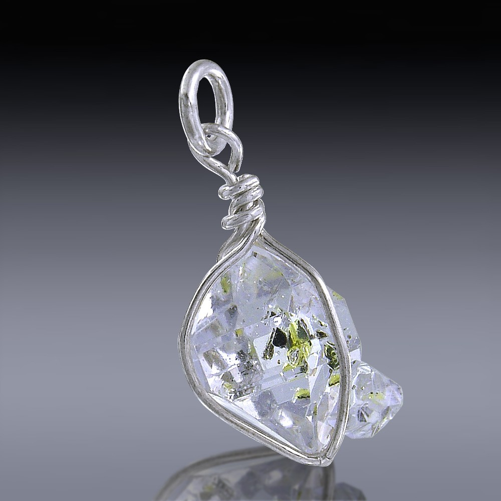 5.45ct Herkimer Diamond Quartz Crystal 925 Sterling Silver Wrap Around Pendant-HDP97-32