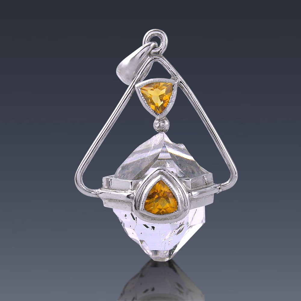 12ct Herkimer Diamond and Citrine 925 Sterling Silver Pendant-HDP-citrin002-30