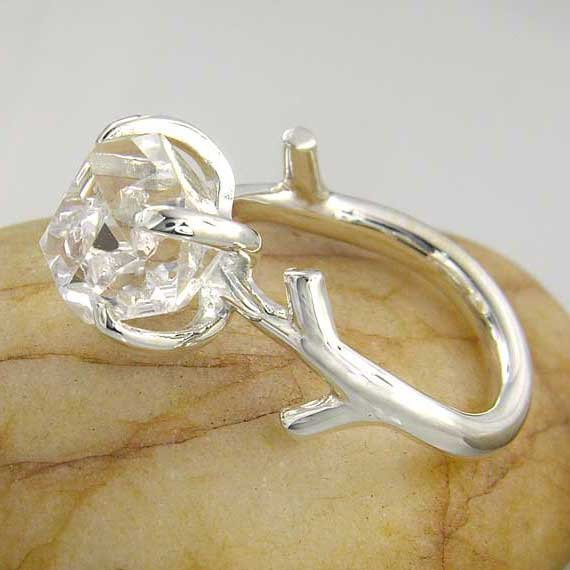 Herkimer Diamond Quartz Recycled Sterling Silver Twig Ring twig-ring-platina-size-O-30