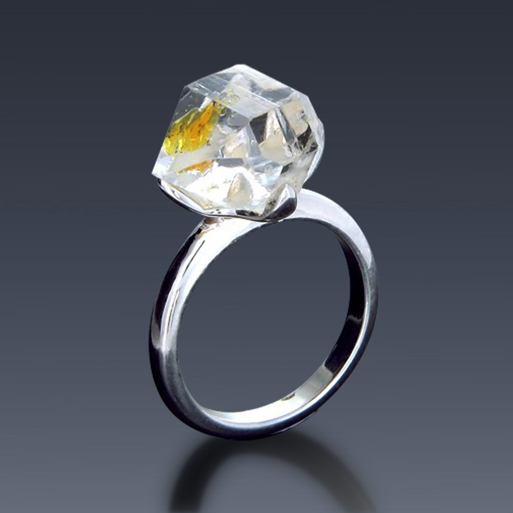 Golden herkimer diamond ring solitaire right hand fashion junglespirit Gallery