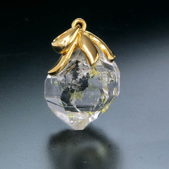 14K or 18K Yellow Gold Over Silver North to South Floral Design Pendant-gold floral NS-30