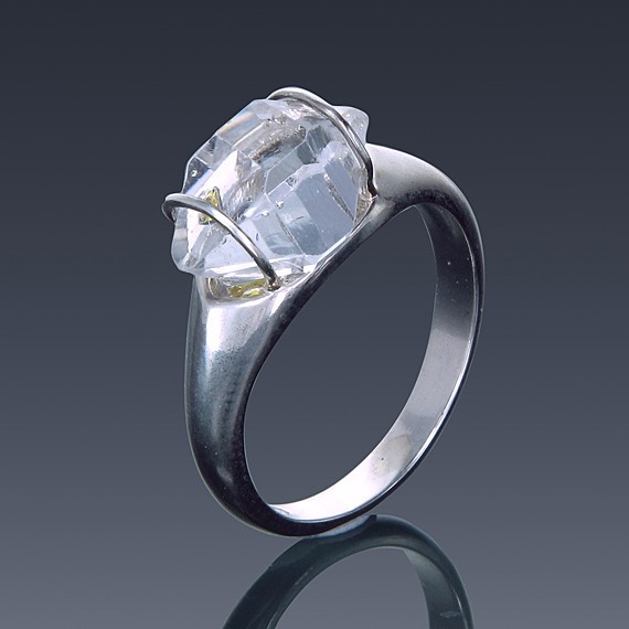 Herkimer Diamond Ring 925 Sterling Silver Quartz Solitaire East to West Set-1855-31
