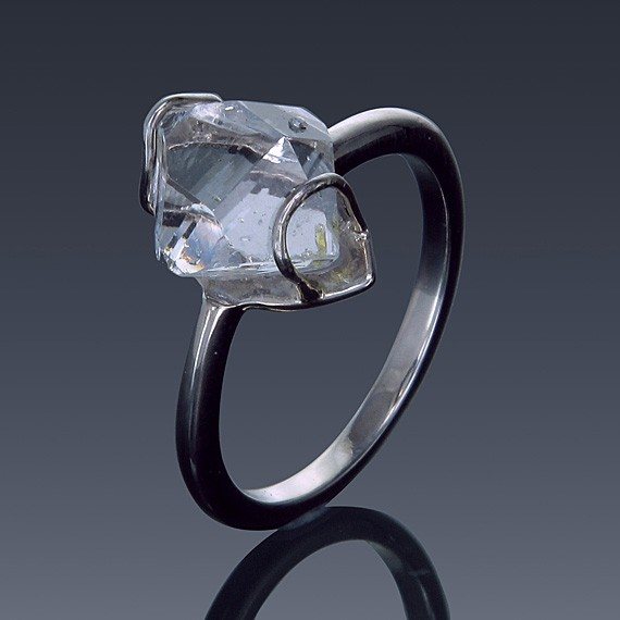 Herkimer Diamond Ring 925 Sterling Silver Quartz Solitaire North to South Set-1856-30