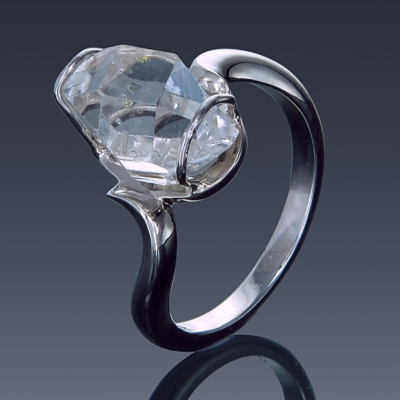 Herkimer Diamond Ring 925 Sterling Silver Twist Solitaire-1857-30