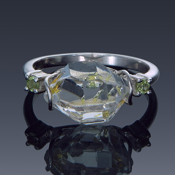 Herkimer Diamond and Gemstone Sterling Silver Birthstone Ring Made to order-1858-custom-30