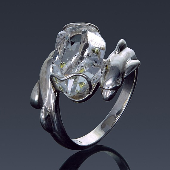 Herkimer Diamond Ring 925 Sterling Silver Dolphin Design-1860-30