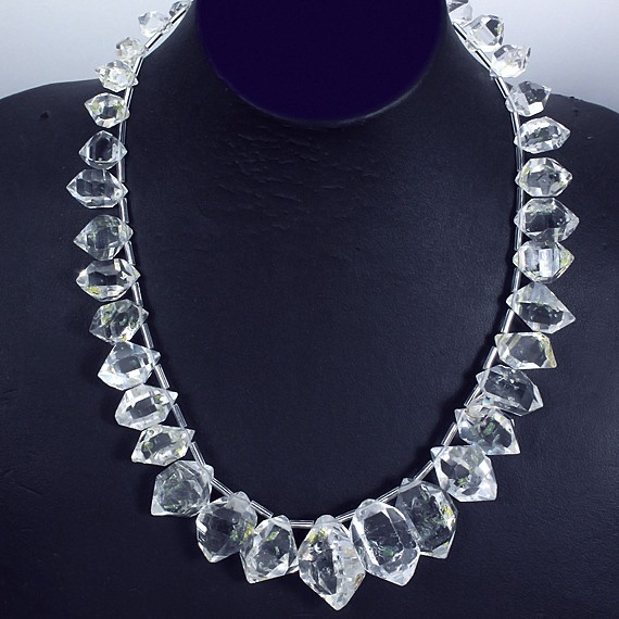 Museum Quality Golden Herkimer Diamond Quartz Crystal Necklace-1836-museum-30