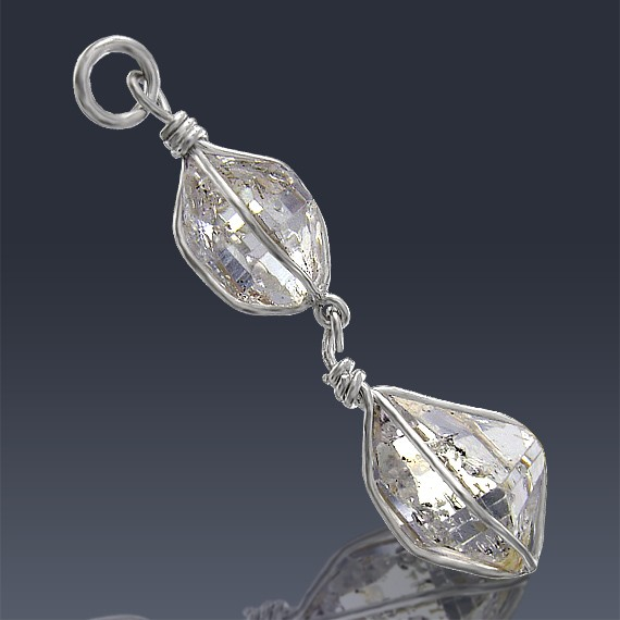 16.12ct Herkimer Diamond Crystal 925 Sterling Silver Pendant Wire Wrapped-HDWire56-30