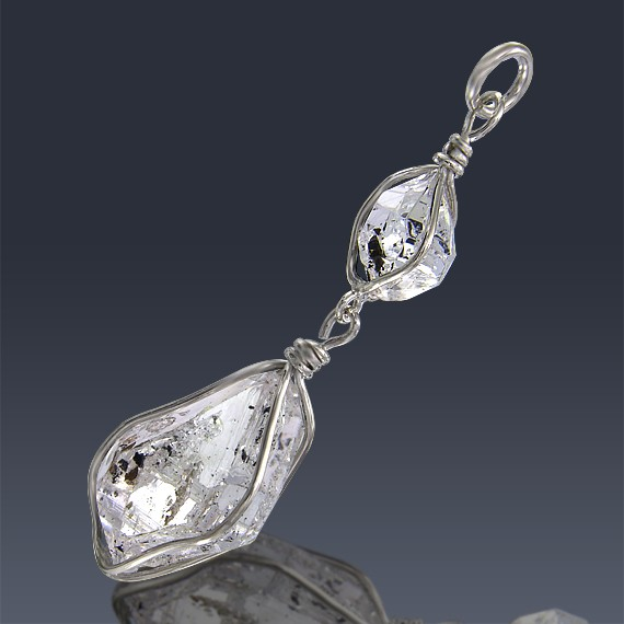 15.88ct Herkimer Diamond Crystal 925 Sterling Silver Pendant Wire Wrapped-HDWire65-30