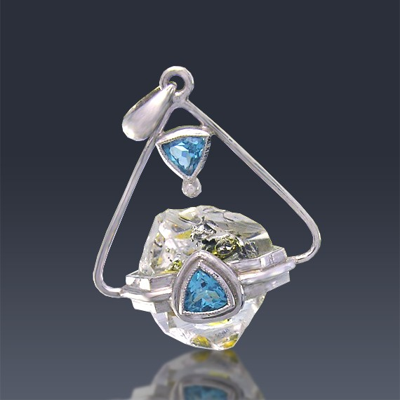 10.54ct One of a kind Herkimer Diamond and Blue Topaz 925 Silver Pendant-HDP-Topaz003-30