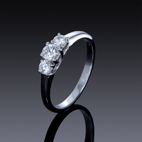 Zircon Ring Classic 3 Stone Engagement Style-1842-30