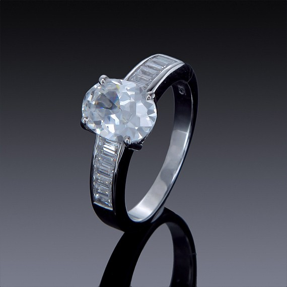 2cwt Zircon Engagement Ring with Swarovski Crystal Accents-1853-30