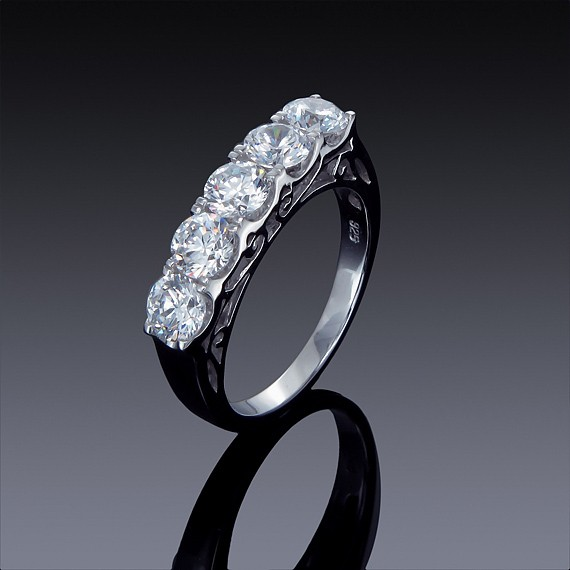 Zircon Ring Classic 5 Stone Womens Right Hand Fashion 925 Sterling Silver-1852-30