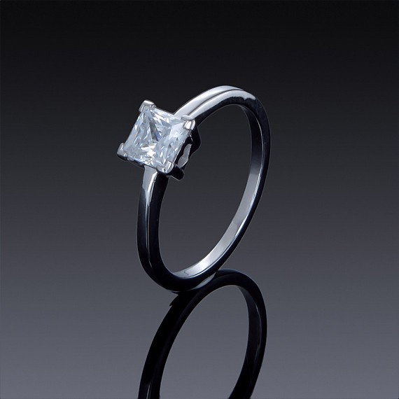 Zircon Fine Ring Princess Cut Solitaire Engagement 925 Sterling Silver-1844-30