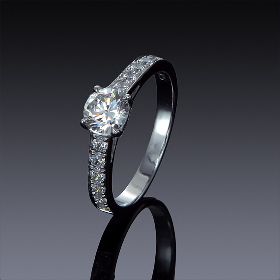 Zircon Engagement Ring 925 Silver with Swarovski Accents-1845-30