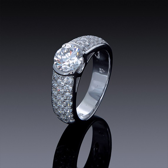1ct Zircon Engagement Ring with Swarovski Crystal Accents-1840-30