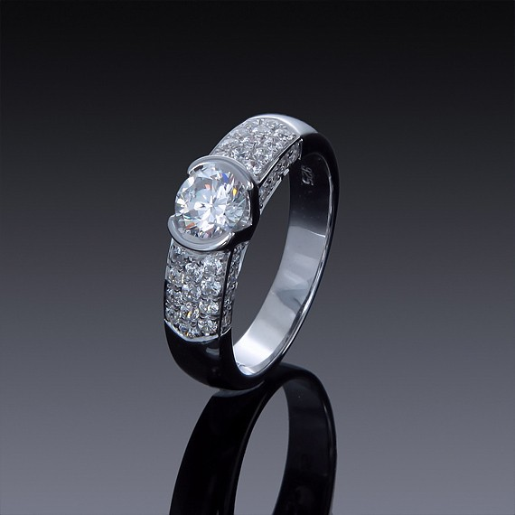 1ct Zircon Engagement Ring with Swarovski Accents-1846-30
