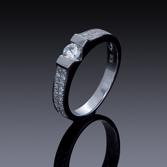 Zircon Engagement Ring 925 Sterling Silver with Swarovski Crystal-1851-30