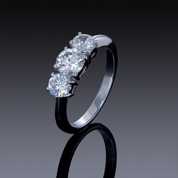 Zircon Engagement Ring 1 carat 3 Stone Band-1850-30