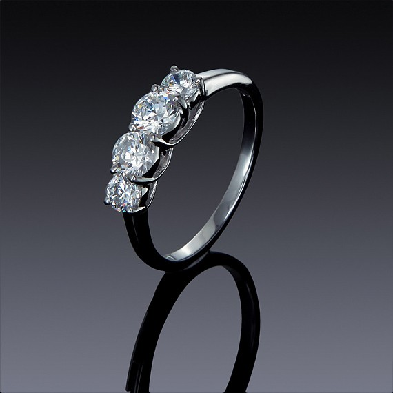 Zircon Engagement Ring 925 Sterling Silver-1838-31