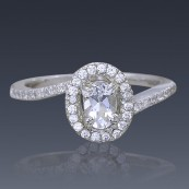 Herkimer Diamond Engagement Ring 925 Sterling Silver with Swarovski Crystal