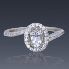 Zircon Engagement Ring 925 Sterling Silver with Swarovski Crystal-1911-20