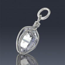 2.95ct Herkimer Diamond Quartz Crystal 925 Sterling Silver Wrap Around Pendant-HDP138-20