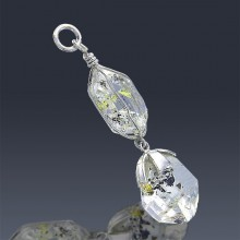 17.5ct Herkimer Diamond Crystal 925 Sterling Silver Pendant Wire Wrapped-HDP161-20