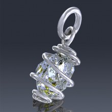 1.78ct Herkimer Diamond Quartz Crystal 925 Sterling Silver Wrap Around Pendant-HDP208-20